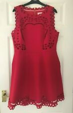 TED BAKER SZ 16 ( 5) BEAUTIFUL VERONY RED EMBROIDERED SKATER DRESS IMMACULATE