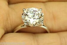 """""""ROSTAR"""" ENGAGEMENT RING WITH 5.00 CT ROUND/4 PRONG/ 14K SOLID WHITE  GOLD"""