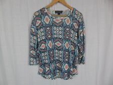 Almost Famous Women's Aztec Print Knit 3/4 Sleeve Shirt Casual Blue Red Size 1X