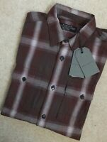 "ALL SAINTS DARK KHAKI ""TRAXLER"" CHECK LONG SLEEVE SHIRT TOP - XS & S - NEW TAGS"