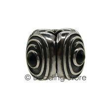NEW Pandora Black Onyx Hypnotize Spiral Silver Fixed Clip Charm Retired 790560BO