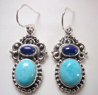 Turquoise and Lapis Tribal Style 925 Sterling Silver Dangle Earrings