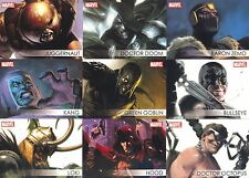 MARVEL GREATEST HEROES 2012 RITTENHOUSE VILLAINS INSERT CARD SET V1 TO V18 MA