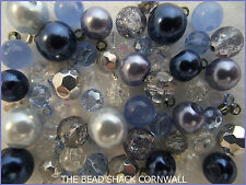Glass Bracelet Making Kit / Bead Mix  - Blue & Silver -  Avalon