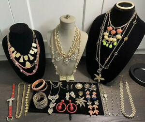 Large Vintage To Now Estate Gold Tone Pearl Peach Rhinestones Jewelry Lot BOLD
