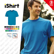 3PCX MENS TEE SHIRT 100% POLYESTER COOL DRY BREATHABLE PLAIN COLOUR CLASSIC TEES