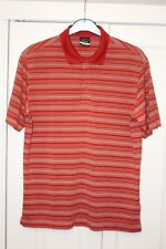 Para Hombre Nike Dri Fit Golf Polo Camisa Medio óxido rojo a rayas