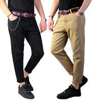 Pantaloni Strappati Uomo Jeans Slim Fit Casual 5 tasche Nero Pantalone Strappi