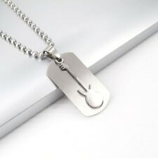 "Silver Army Military Guitar Dog Tag Music Pendant 24"" 61CM Mens Chain Necklace"