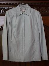 Liz Claiborne Leather Jacket size S Light grey blue SOFT BEAUTIFUL