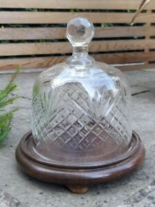 Vintage Cut Glass Crystal Cheese Cake Dome Stand Dish Wooden Base