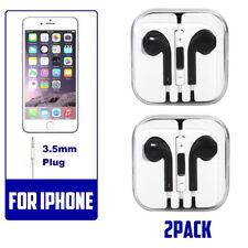 2 black Generic Headset Earphones Earbuds Headphone With Microphone fo