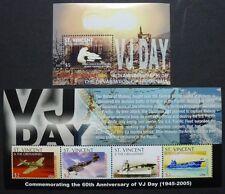 ST. VINCENT 2005 2.Weltkrieg Flugzeuge Flugzeugträger 6183-86 + Bl.653 ** MNH