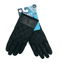 Isotoner Womens Sz S/M Gloves Black Quilted Touchscreen Enabled Smart Dri Fabric