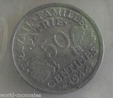 50 centimes état français 1944 B : TTB : pièce de monnaie française