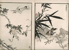 1881 double woodblock prints, Bairei, Birds Flowers, plate 11, Vol 1-3