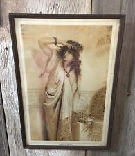 "Rebecca At The Well Print Antique Beaded Frame 1910 Gray Lith Co NY 10.5""x 15.5"""