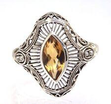 CITRIN & PERLEN Ring Größe 57  Silber  925 ART DECO STIL  STERLINGSILBER