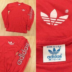 vtg 70s 80s usa made adidas long sleeve t-shirt kids MEDIUM 12-14 red trefoil