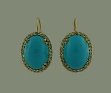 Colorful TURQUOISE DIAMOND YELLOW GOLD EARRINGS Classy and Wearable