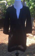 JCrew Cotton embroidered tunic e8114 black L Large dress
