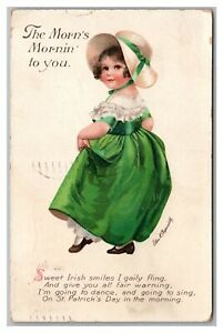 Postcard St Patrick's Day Girl Morn's Mornin To You a/s Clapsaddle Wolf N23