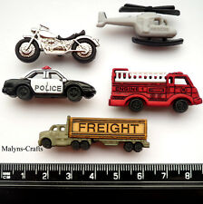 TRANSPORT 5 Craft Buttons 1ST CLASS POST Boy Toy Lorry Helicopter Car Motorbike