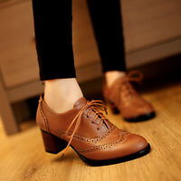 Retro Women Lace Up Oxford Pumps Shoes Block Heels Brogues Court Shoes Plus Size