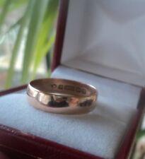 Vintage  9ct Rose Gold Wedding Band Ring h/m 1912 Birmingham  -  size S / T
