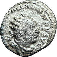 VALERIAN I 256AD Rome Authentic Silver Ancient Roman Coin Victory Nike i78202