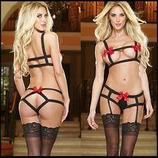 sexy lingerie hot open bra+G thongs lingerie set red bow black Bandage costume