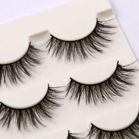 SKONHED 3 Pairs Long Wispy Lashes Makeup Tools False Eyelashes Mink Hair