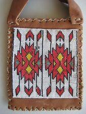 Beaded Deerskin Pouch Cedar Bag Tiny Seed Beads Navajo Handmade