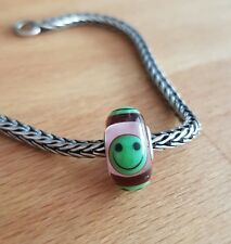 Rare TROLLBEADS GREEN AND transparent PINK SMILEY