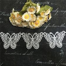 1M Vintage White Butterfly Lace Edge Trim Ribbon Applique Wedding Decoration New