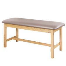 "Treatment Exam Table Flat top Wooden H-brace frame 24"" Cream"