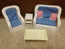 1983 Vintage Barbie Doll Wicker Rattan Sofa Chair Living Room Patio Furniture