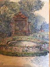 Peinture Gouache Aquarelle Parc Fontaine Signature À Déchiffrer Identifier