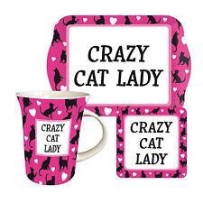Crazy Cat Lady TEATIME SET REGALO-TAZZA, BISCOTTO VASSOIO E SOTTOBICCHIERI-MOTHER'S DAY
