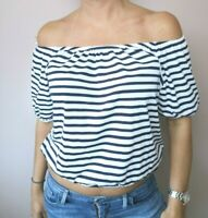 Atmosphere White Navy Stripe Off the Shoulder Bardot Crop Top Size 12
