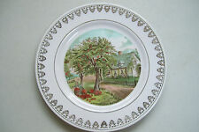 """Vt. Currier & Ives Autumn 8"""" Plate Fence House Trees Gold Accents"""