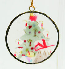 Clear Candle Tree Round Flat Christmas Ornament Holiday Decoration