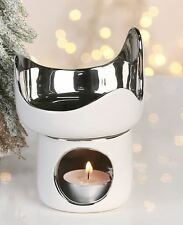 36768 Quemador de aromaterapia Rondo de cerámica blanco plata altura 13,5