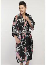 Black Chinese Silk/satin Men's Kimono Robe Gown Bathrobe Dress 2018