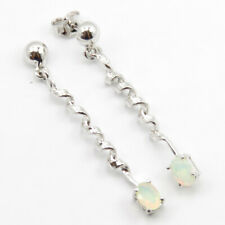 925 SILVER NATURAL OPAL ! OCTOBER BIRTHSTONE DANGLE EARRINGS Columbus Day GIFT