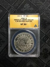 1967 Anguilla Silver Liberty Dollar C/S C/M on 1923 Peru Sol ANACS VF30