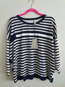 Paul Smith Womens Crew Neck 3/4 Sleeve Sweater in Navy/White Stripe L RRP £195