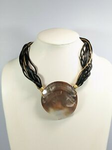Artisan Brown Pearlized Large Seashell Pendant Black Gold Cord Necklace 20 Inch