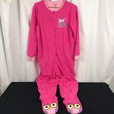NICK & NORA Pink Owl Fleece Footie Pajamas Sz Adult Large Footed