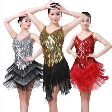 Latin Dance Costume Tassel Raindrop Sequins Dress 9 Colors